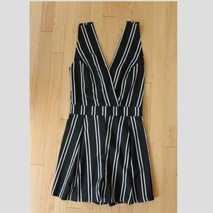 Fashion Union Black and White Striped Romper